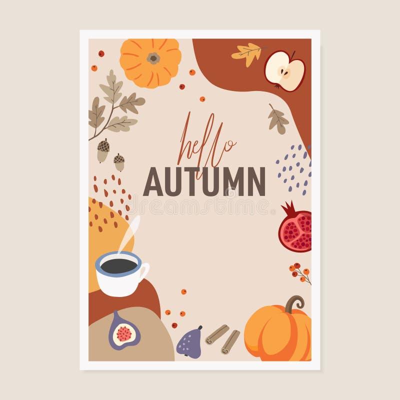 逗人喜爱的秋天贺卡邀请 南瓜、桂香、五颜六色的秋天叶子、苹果、无花果和咖啡在摘要 库存例证