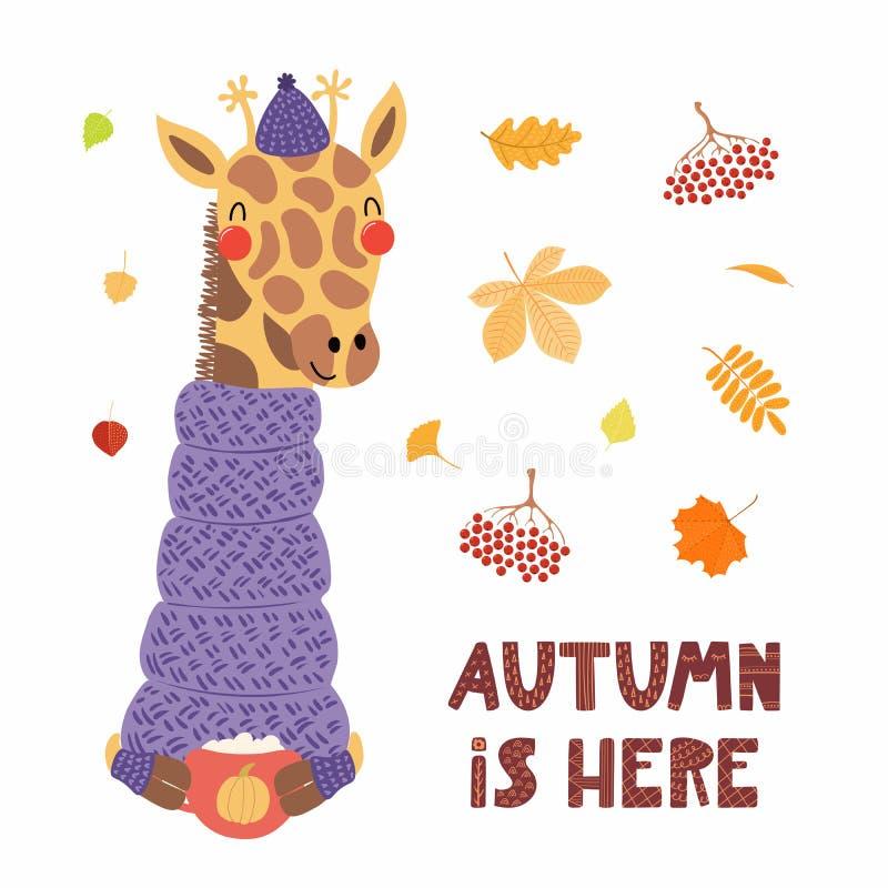 逗人喜爱的秋天长颈鹿 向量例证