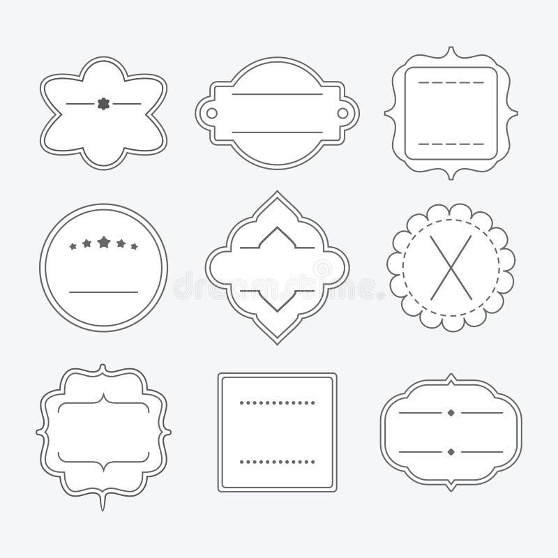 逗人喜爱的空白的空的黑线象征框架设计元素集 库存例证