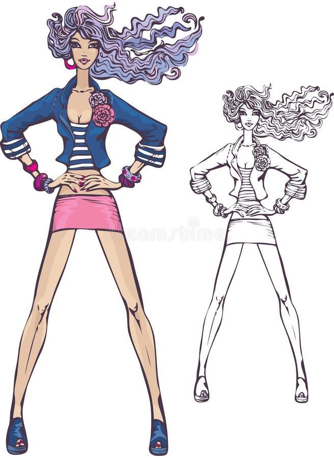 逗人喜爱的穿戴的女孩行程长的微型&# 库存例证