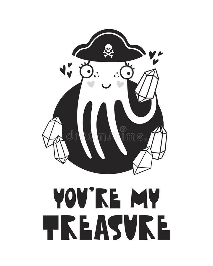 逗人喜爱的章鱼,婴孩室的,贺卡,在墙壁上的印刷品,枕头,装饰海报哄骗内部、婴孩穿戴和T恤杉 向量例证