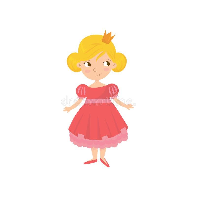 逗人喜爱的童话公主画象桃红色礼服和金黄冠的在头 小女孩漫画人物与 向量例证