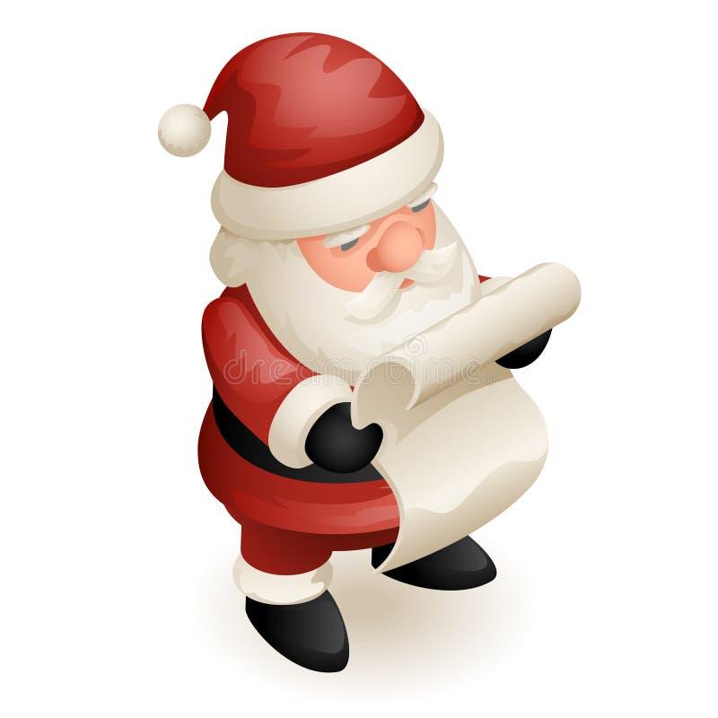 逗人喜爱的等量3d圣诞节圣诞老人祖父弗罗斯特读了纸纸卷新年动画片设计被隔绝的象 向量例证