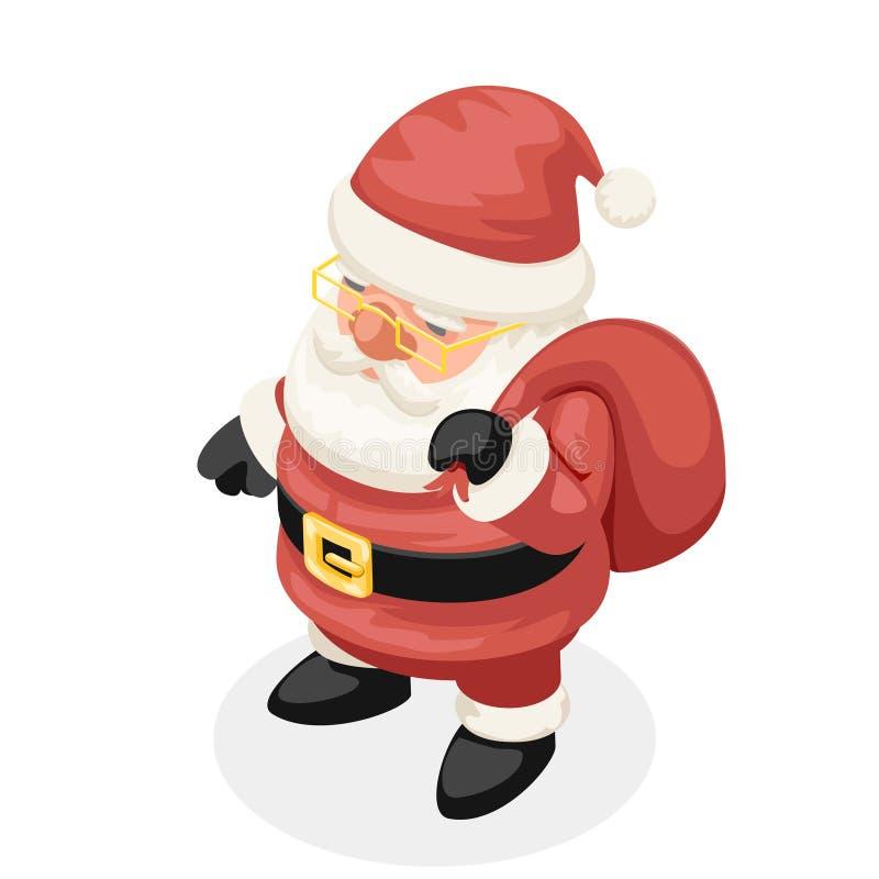 逗人喜爱的等量3d圣诞节圣诞老人项目新年动画片设计被隔绝的传染媒介例证 库存例证