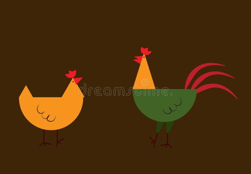 逗人喜爱的米黄和红色公鸡和鸡 7个动物动画片农厂例证系列 动画片家宠物 背景查出的白色 皇族释放例证