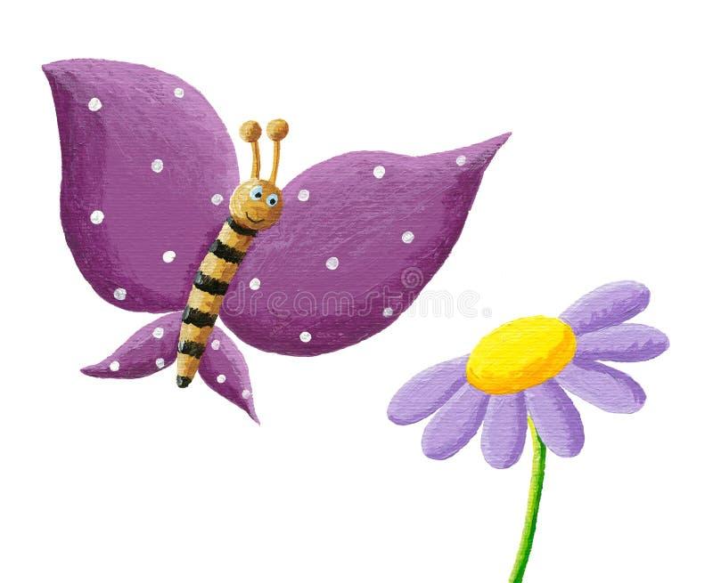 逗人喜爱的紫色蝴蝶和花 向量例证