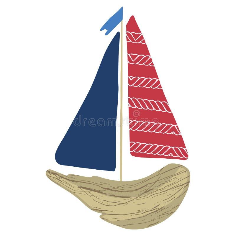 逗人喜爱的红色和海军漂流木头小船动画片传染媒介例证主题集合 手拉的被隔绝的航海元素clipart为 向量例证