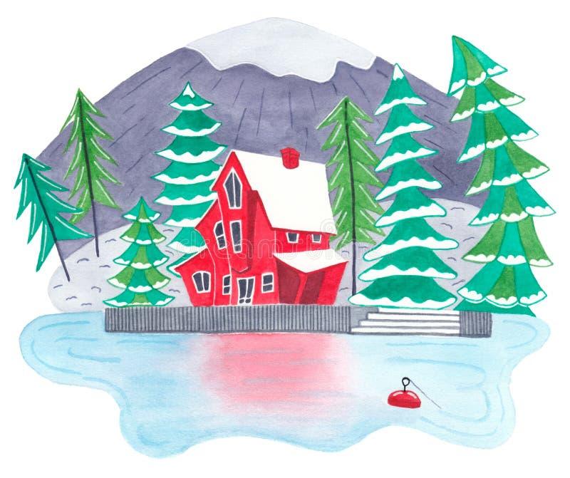 逗人喜爱的红色lakehouse在山森林里 图库摄影