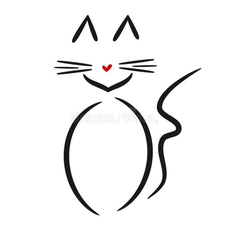 逗人喜爱的线性猫商标黑色白色红色 向量例证