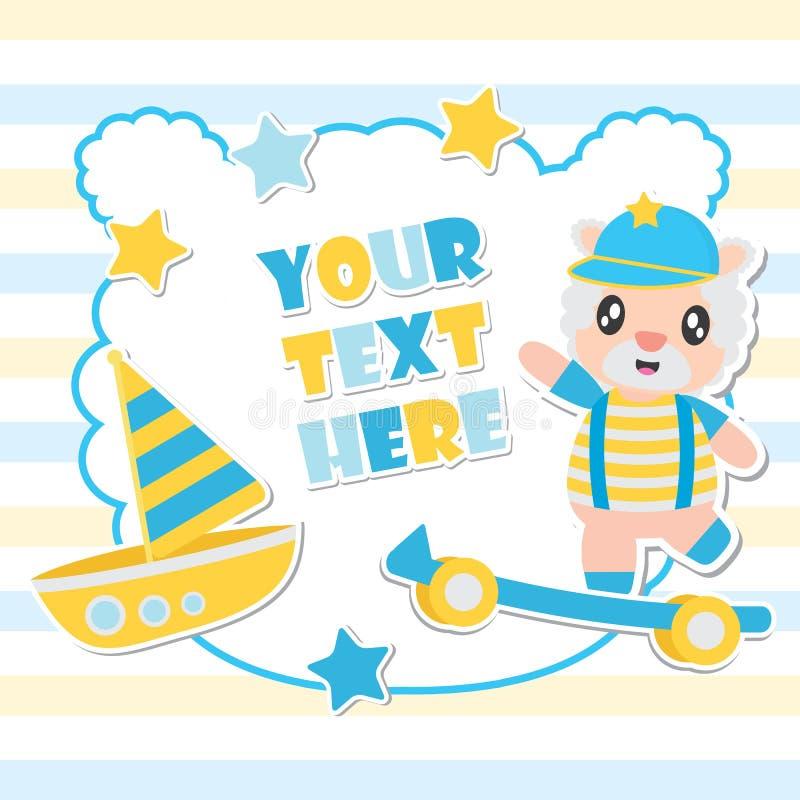 逗人喜爱的绵羊男孩和玩具构筑婴儿送礼会卡片设计的动画片例证 库存例证