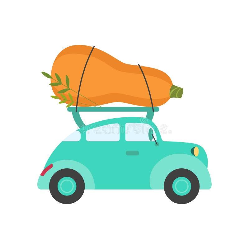 逗人喜爱的绿松石汽车交付巨型夏南瓜,侧视图,运输新鲜的庭院菜导航例证 向量例证
