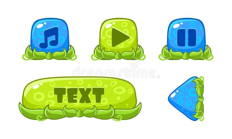 逗人喜爱的绿色和蓝色光滑的按钮集合,流动应用程序或电子游戏的用户界面财产导航在a的例证 库存例证