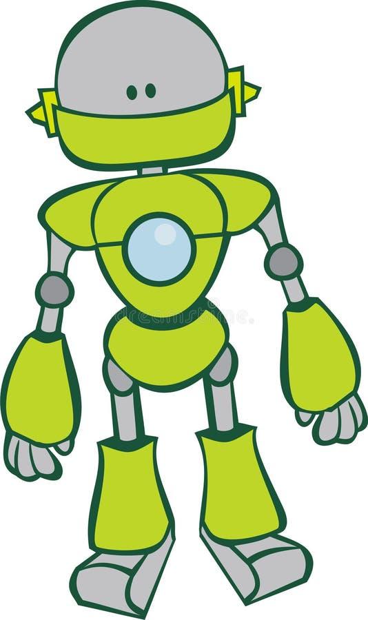 逗人喜爱的绿色机器人 向量例证