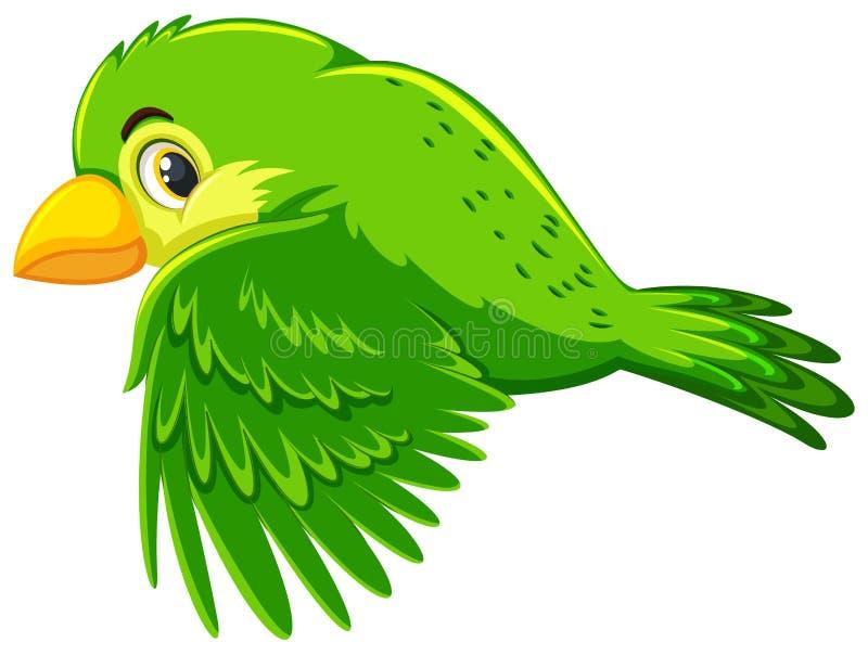 逗人喜爱的绿色鸟飞行 库存例证