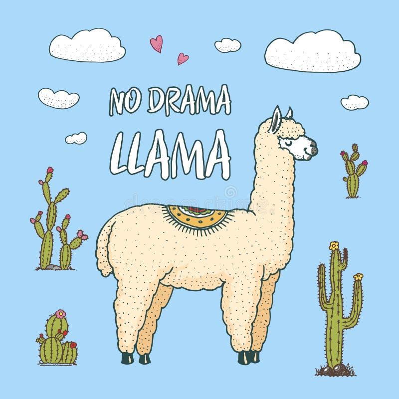 逗人喜爱的羊魄骆马或野生骆马之类在仙人掌和山背景  滑稽的微笑的动物在卡片的秘鲁 皇族释放例证