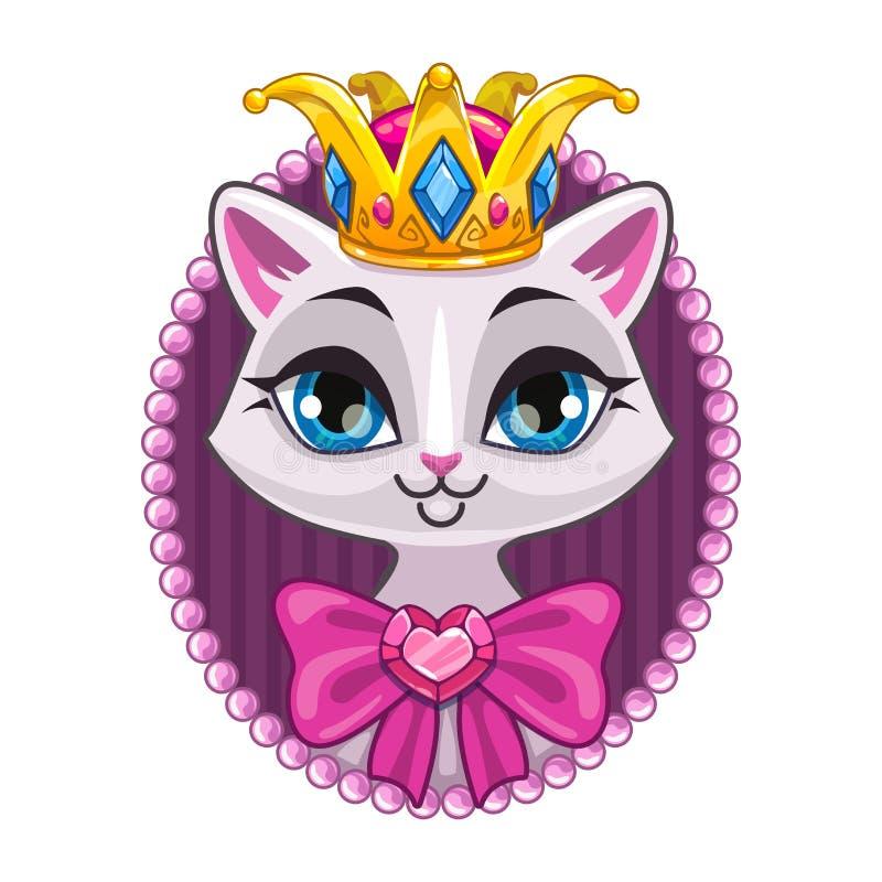 逗人喜爱的美丽的公主全部赌注画象 向量例证