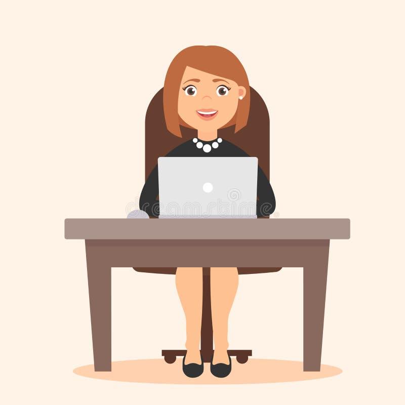 逗人喜爱的美丽的女孩 行业管理员,办公室工作者秘书, 书桌和计算机 在平的样式的传染媒介 向量例证