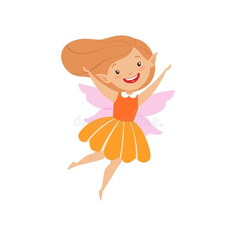 逗人喜爱的美丽的矮小的飞过的神仙,橙色礼服传染媒介例证的可爱的愉快的女孩在白色背景 向量例证