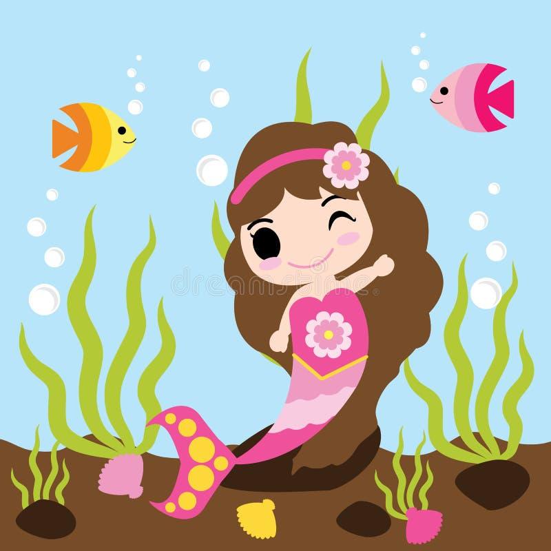 逗人喜爱的美人鱼女孩游泳与在水传染媒介动画片、孩子明信片、墙纸和贺卡的鱼 皇族释放例证