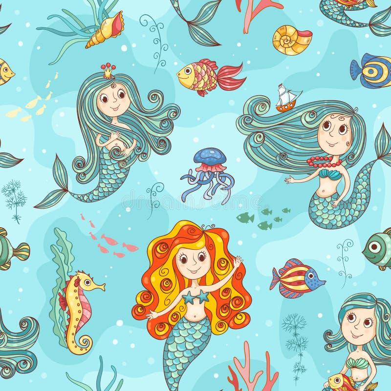 逗人喜爱的美人鱼无缝的样式颜色 库存例证