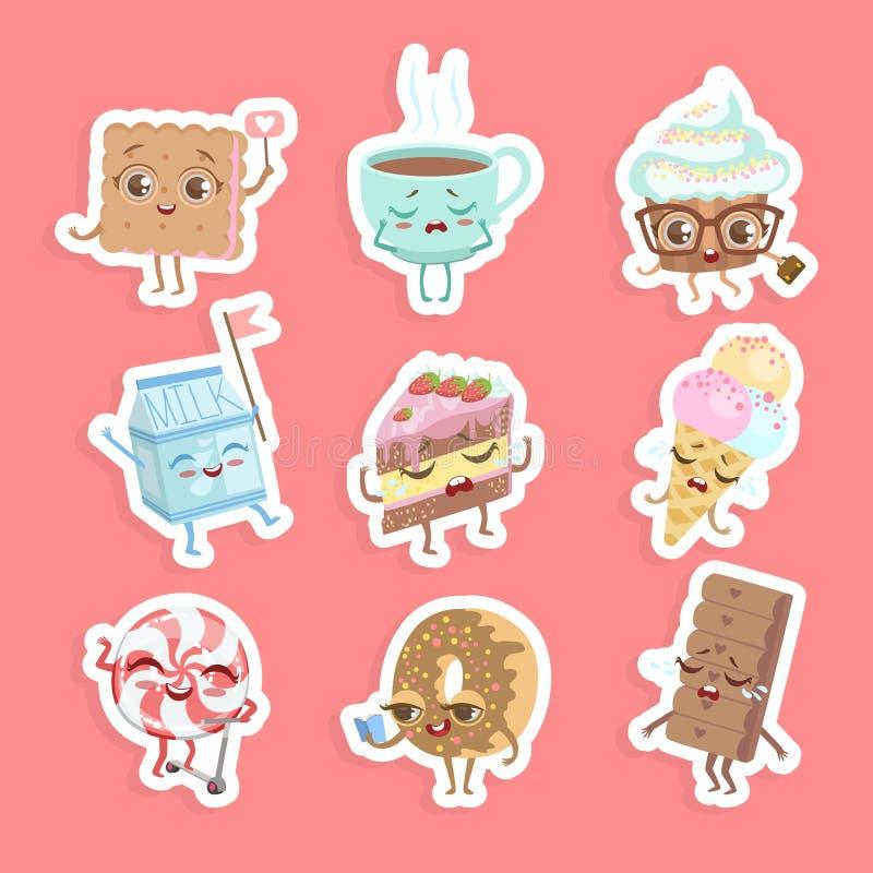 逗人喜爱的美好的点心贴纸集合,蛋糕,杯形蛋糕,多福饼,曲奇饼,冰淇淋,与笑容传染媒介例证的糖果 向量例证