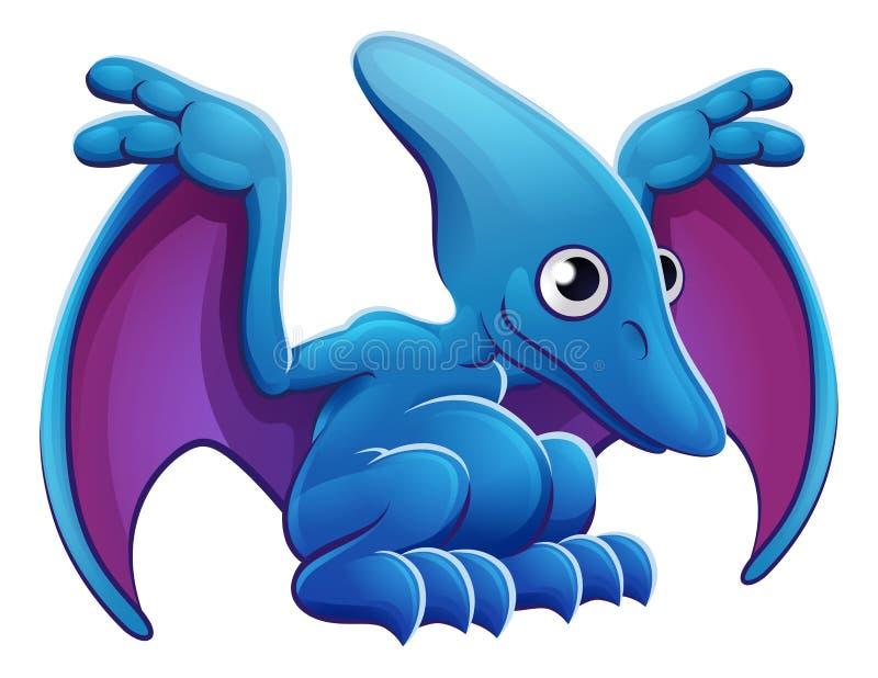 逗人喜爱的翼手龙动画片飞行恐龙 库存例证