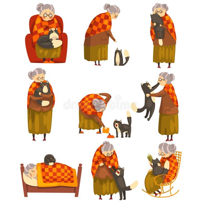 逗人喜爱的老婆婆和她的恶意嘘声集合、孤独的老妇人和她的动物宠物导航在白色背景的例证 向量例证
