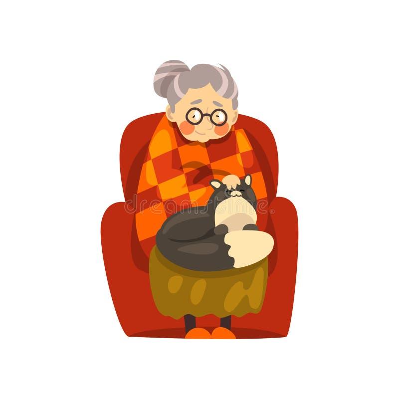 逗人喜爱的老婆婆坐在有她的恶意嘘声的扶手椅子的,孤独的老妇人和她的动物宠物导航在白色的例证 库存例证