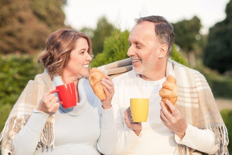 逗人喜爱的老爱恋的夫妇做野餐户外 免版税图库摄影