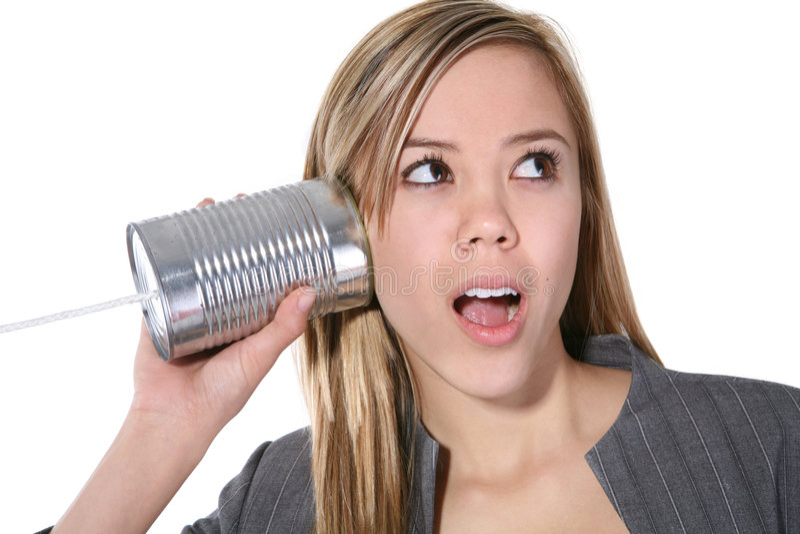 逗人喜爱的老电话妇女 免版税图库摄影