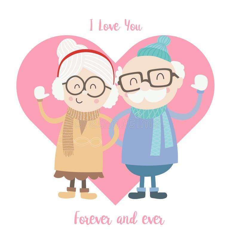 逗人喜爱的老男人和妇女夫妇佩带的冬天衣服001 库存例证