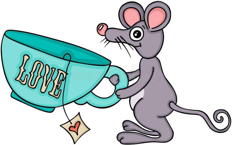 逗人喜爱的老鼠运载的爱茶 皇族释放例证
