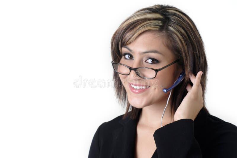 逗人喜爱的耳机招待员 图库摄影