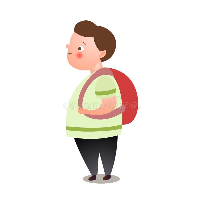 逗人喜爱的肥胖人,有红色背包的年轻学生 向量例证