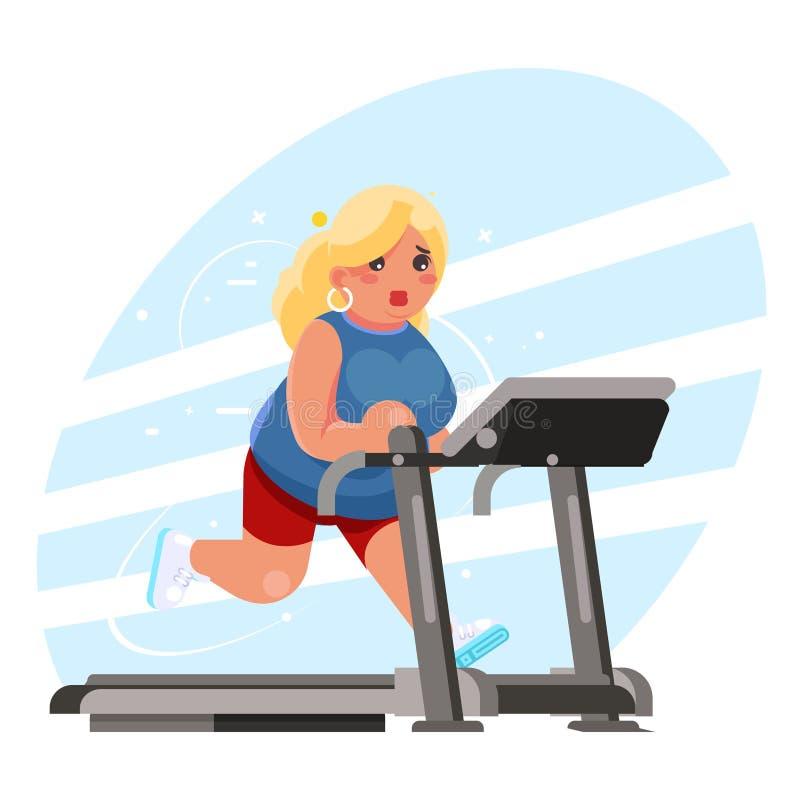 逗人喜爱的肥胖妇女心脏连续踏车模拟器健身健身房奔跑锻炼训练丢失重量概念平的设计 向量例证