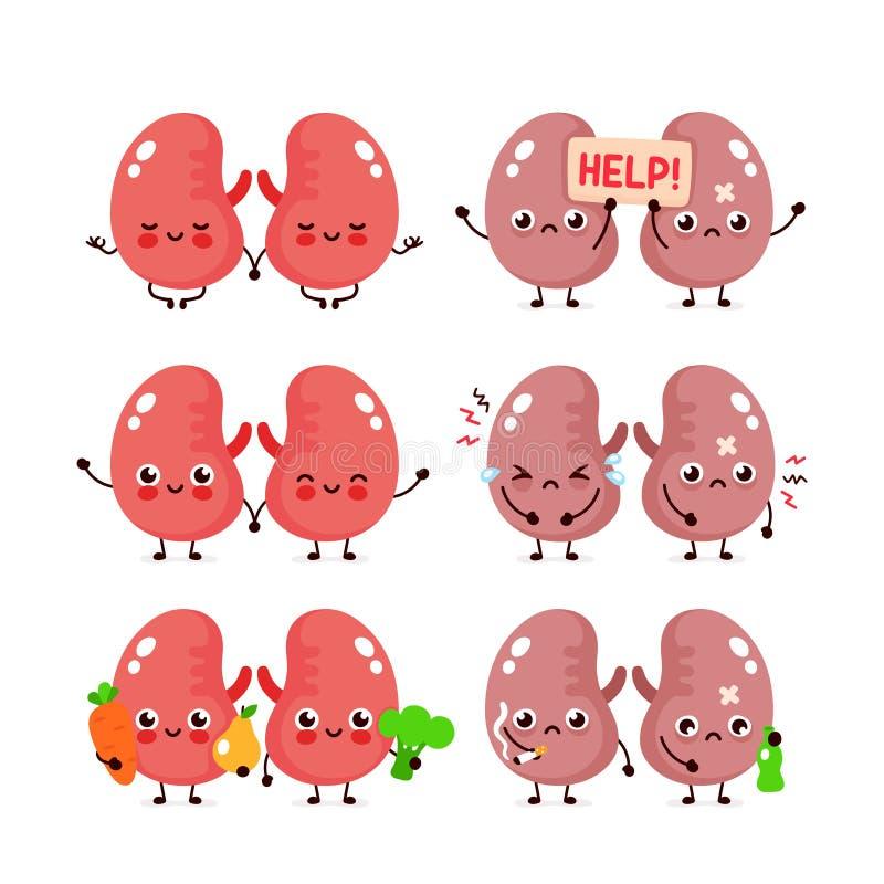 逗人喜爱的肾脏集合 健康和不健康的器官 向量例证