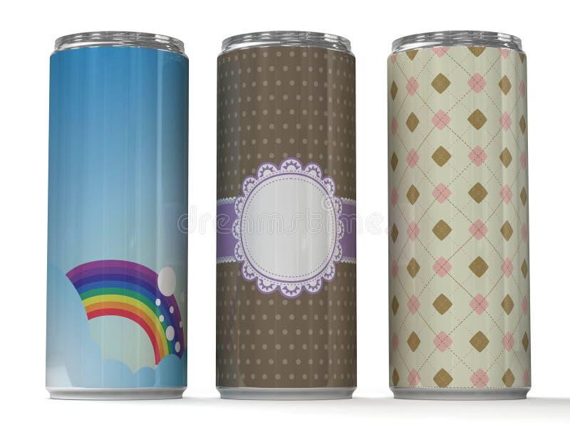 逗人喜爱的能源饮料罐头 向量例证