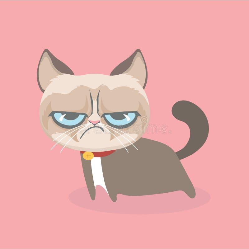 逗人喜爱的脾气坏的猫 向量例证