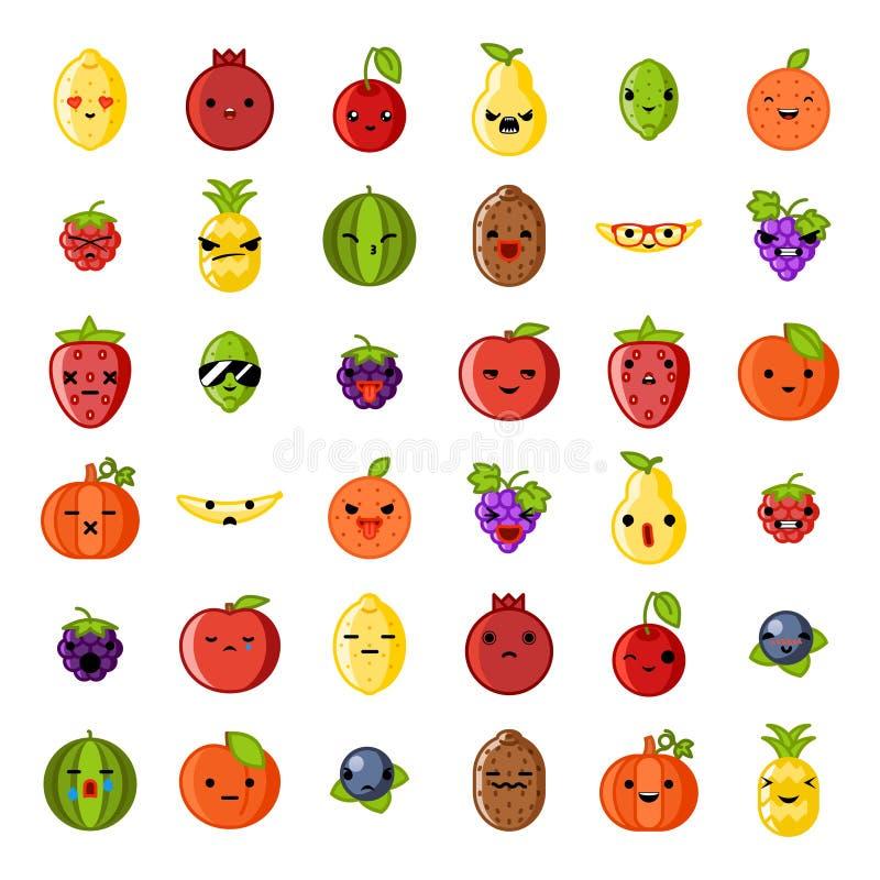 逗人喜爱的自然emoji微笑新鲜水果苹果樱桃西瓜猕猴桃草莓柠檬桃子梨香蕉健康的食物 皇族释放例证