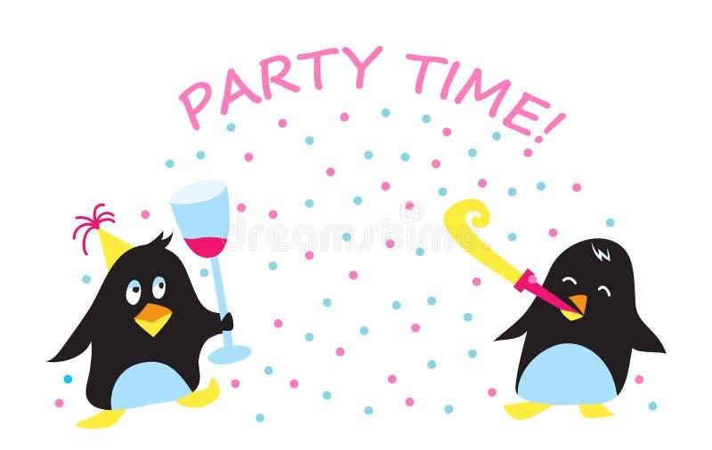 逗人喜爱的节日晚会企鹅传染媒介例证 库存例证