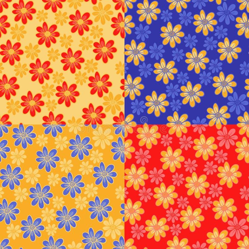 逗人喜爱的花。 四不同颜色 库存例证
