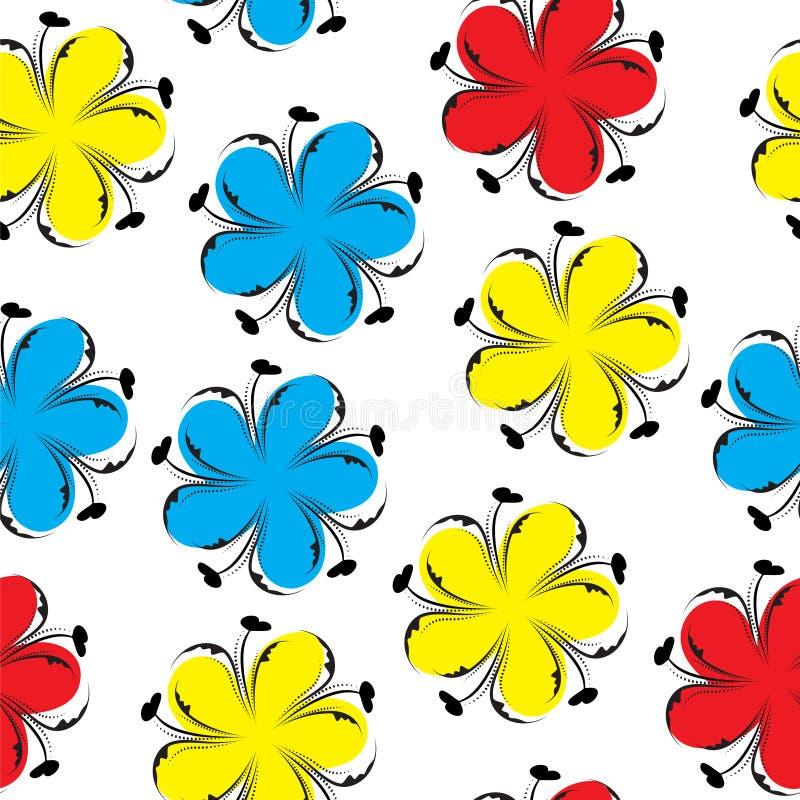 逗人喜爱的花卉无缝的样式,明亮的夏天花卉背景 花纹理 向量例证