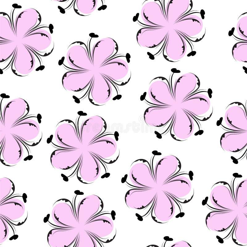 逗人喜爱的花卉无缝的样式,桃红色花卉背景 柔和的墙纸 花纹理 库存例证
