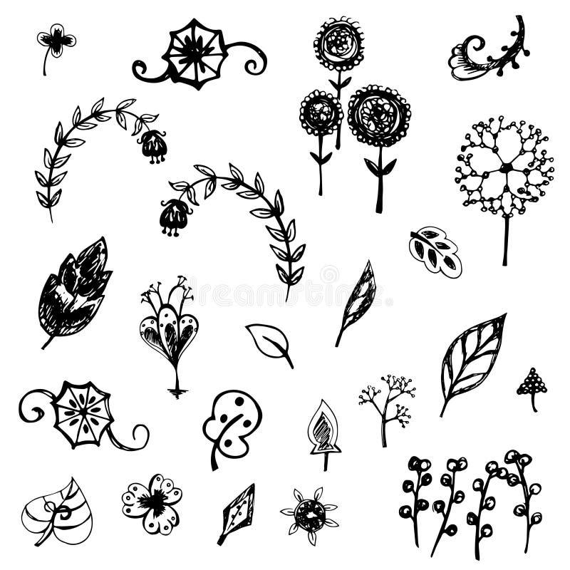 逗人喜爱的花和叶子剪影传染媒介 库存例证