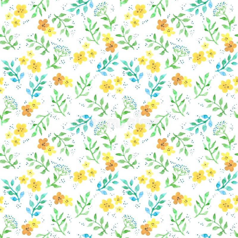 逗人喜爱的花,草本,草 Ditsy无缝的样式 水彩 库存例证