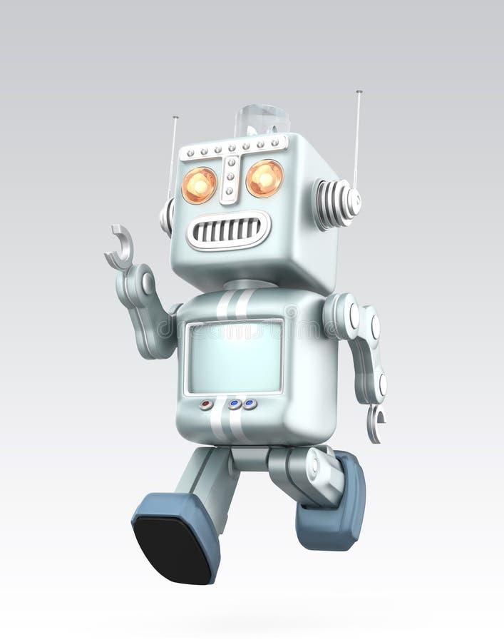 逗人喜爱的葡萄酒机器人赛跑 查出在灰色背景 库存例证