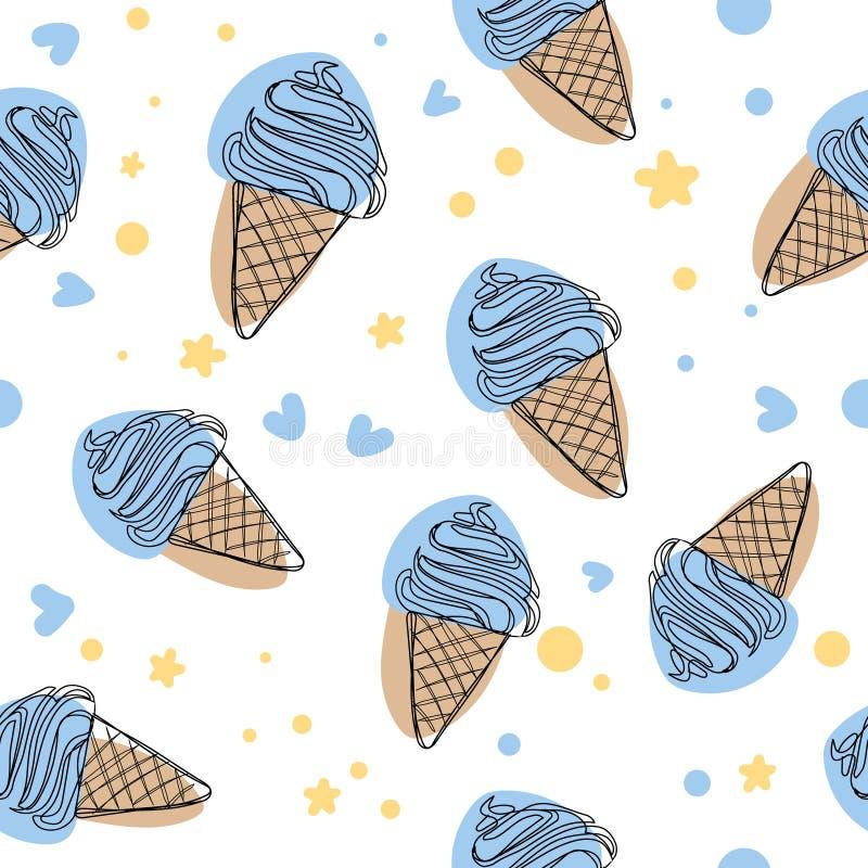 逗人喜爱的蓝色动画片冰淇凌无缝的传染媒介样式背景例证 向量例证