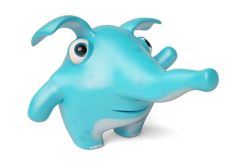 逗人喜爱的蓝色动画片大象, 3D例证 库存例证