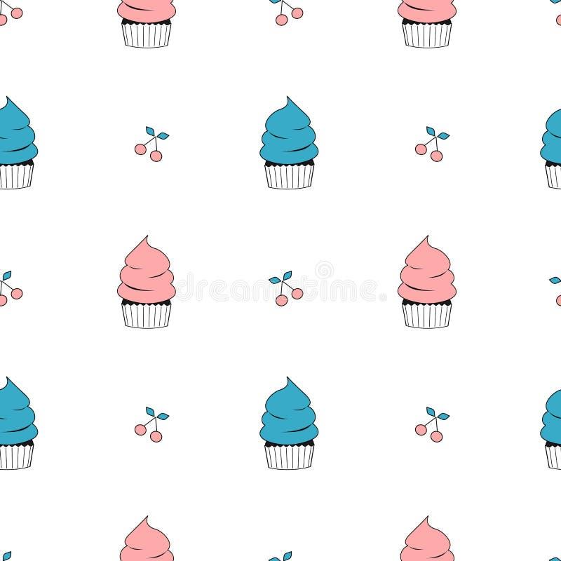 逗人喜爱的蓝色和桃红色动画片平的杯形蛋糕无缝的样式背景例证 皇族释放例证