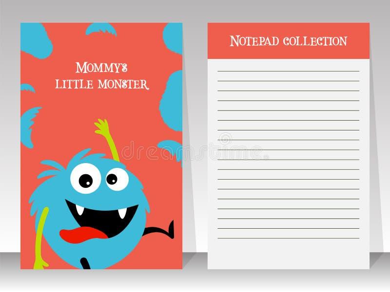 逗人喜爱的蓝色妖怪笔记本模板 向量例证